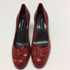 ETIENNE AIGNER Red Leather Kitten Heel Pumps